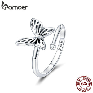 Authentic 925 Sterling Silver Vintage Butterfly Adjustable Ring SCR448