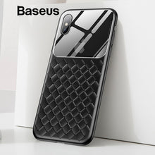 Load image into Gallery viewer, Baseus Grid Pattern Case For iPhone Xs Max Luxury Silicone + Tempered Glass Case For iPhone Xs Xs Max XR 2018 Phone Accessories