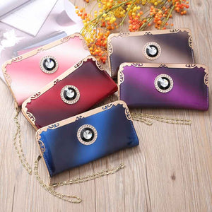 Fashion Women Long Patent Leather Gradient Color Bag Rainbow Purse Clutch Purse
