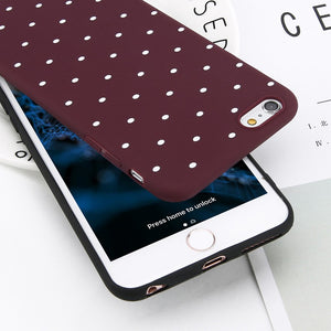 Wine Red Ploka Dots Phone Case For iPhone 6 6s Plus XS Max Wave Point Cover Soft TPU Case For iPhone XR X 8 7 Plus 5 S SE