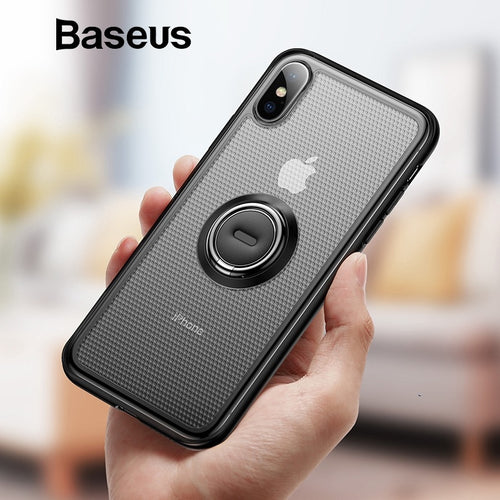 Baseus Creative Phone Case For iPhone Xs with Ring Holder Stand Matte Case For iPhone Xs Max Xs XR 2018 for Magnetic Car Holder