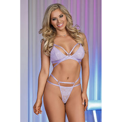 EXPOSED LAVENDER LACE STRAPPY BRA & G-SET - M108