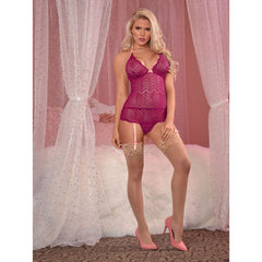 EXPOSED CRANBERRY CRUSH MERRY WIDOW TEDDY W/ATTACHED PANTY - M133