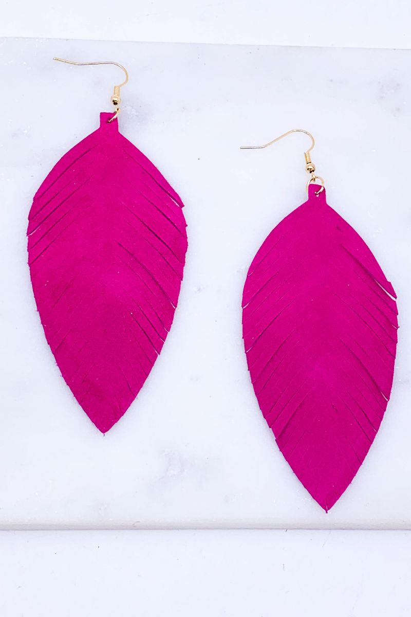 Genuine Leather Fringed Earrings