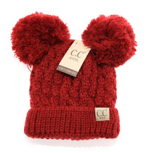 Load image into Gallery viewer, Kids Solid Double Pom CC Beanies