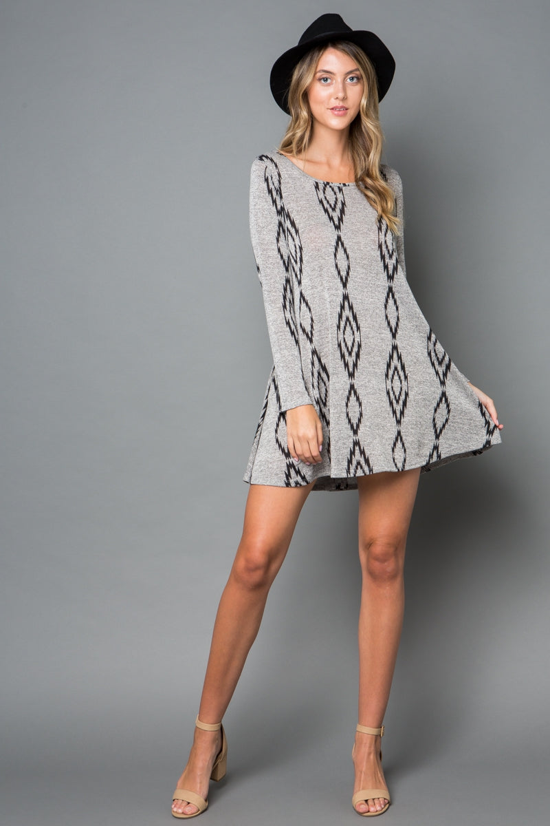 Aztec Print Swing Dress - Curvy