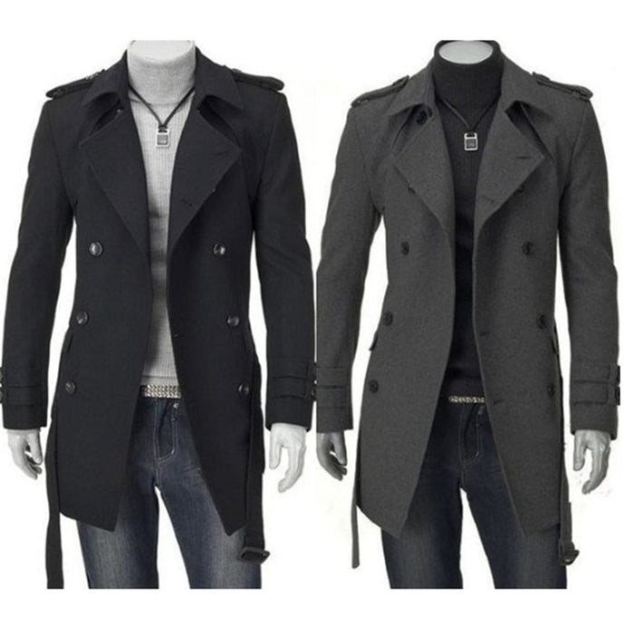Winter Men's Trench Coat Jackets Black Grey Faux Wool Business Clothes Slim Fit Belted Long Coat - Mizta Defiant