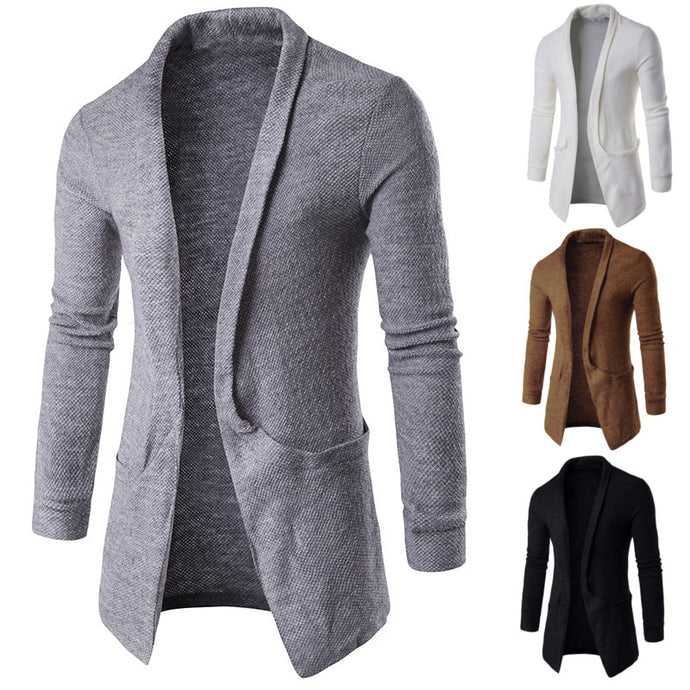 Men's Sweater Fashion Cardigan Long Sleeve Lapel Neck Sweaters Men Clothes - Mizta Defiant