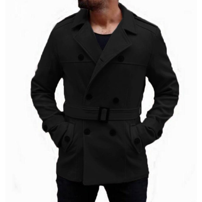 Warm Winter Fashion Men's Trench Coat Turn Down Collar Slim Fit Double Breasted Jackets - Mizta Defiant