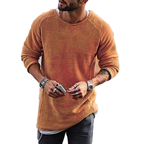 Casual Knitted Mens Sweater Solid O-neck Long Sleeve Loose Fit - Mizta Defiant