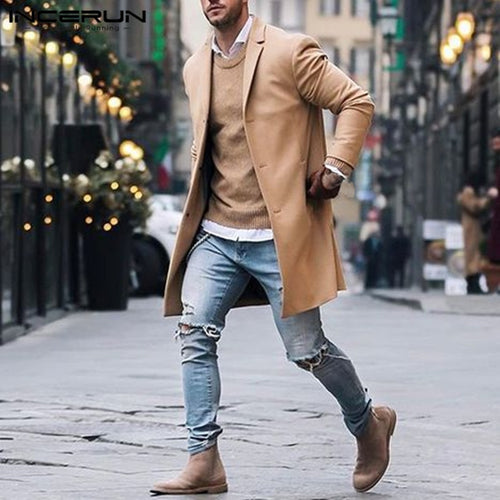 Fashion Winter Men's Trench Long Jackets Coats Overcoat Classic Jackets Solid Slim Fit Outwear Hombre Men Clothes - Mizta Defiant