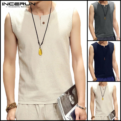 Fashion Tank Tee Tops Men's Vest Sleeveless Cotton Loose Men Comfortable Clothes - Mizta Defiant