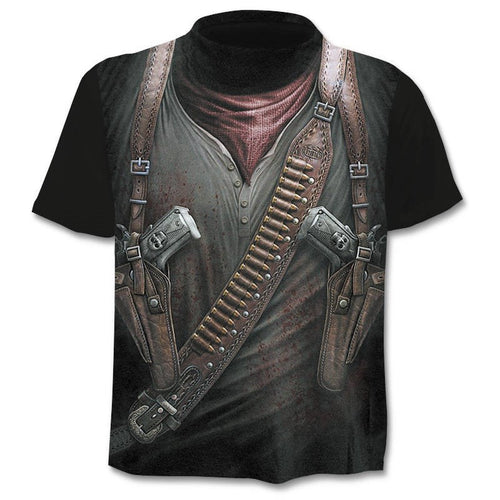 Cloudstyle Own Design Men's T shirt 3D Gun Warrior Tshirt Print Knife Harajuku Tops Tee Short Sleeve Fitness t-shirt - Mizta Defiant