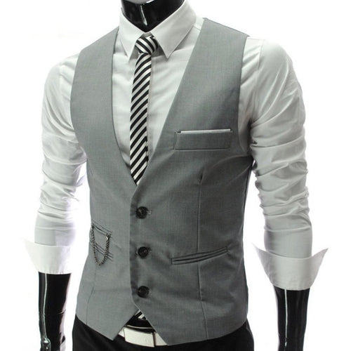 2019 Grey Dress Vests Slim Fit Mens Suit Vest Casual Sleeveless Waistcoat - Mizta Defiant