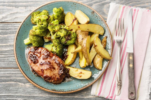 Cherry and Balsamic Glazed Pork Chops with roasted Broccoli and Potatoes