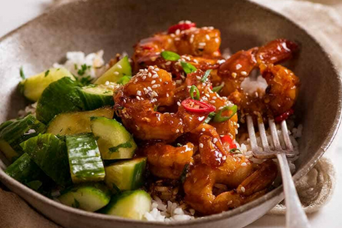 Sticky Chili Shrimp Bowls with Tangy Cucumber & Radish Salad