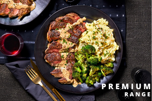 Ribeye with Creamy Peppercorn Sauce, Sour Cream & Chive Mash & Roasted Broccoli