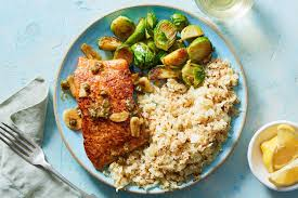 Lemon-Brown Butter Salmon with Capers & Cauliflower Rice & Roasted Brussel Sprouts