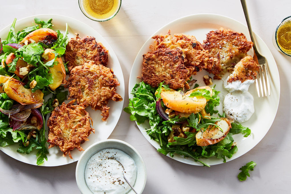 Potato Latkes with Roasted Apples & Arugula