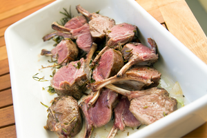 Roasted Rack of Lamb with Caramelized Leek, Spinach, & White Bean Gratin
