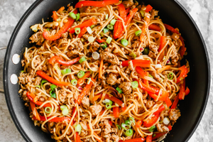 Chicken & Veggie Bulgogi Noodle Bowls with Crushed Peanuts