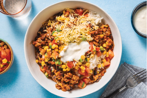 Tex Mex Beef Bowls with Lime Rice, Charred Corn & Salsa Crema