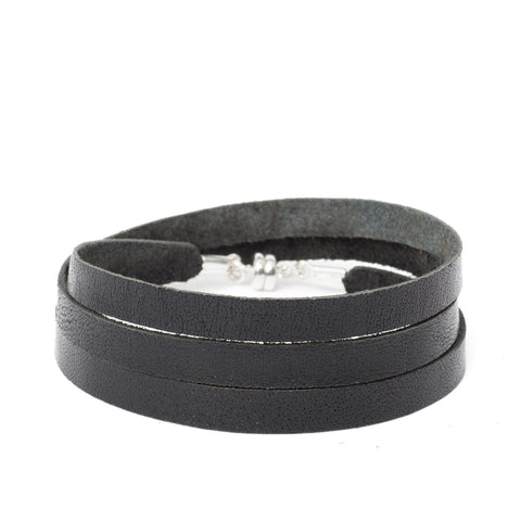 Black Leather Wrap ~ Silver Clasp