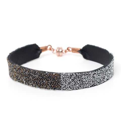 Bangle Black Dorado/Crystal Stripe