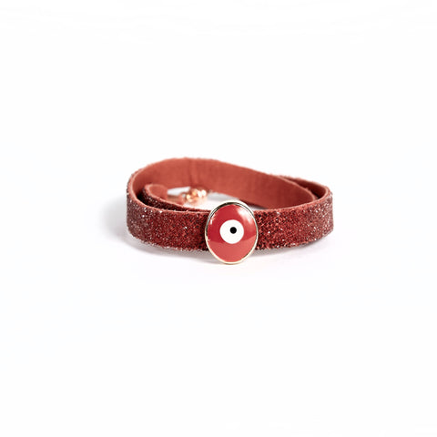 Double Bangle Cherry Antique Pink with Evil Eye Charm