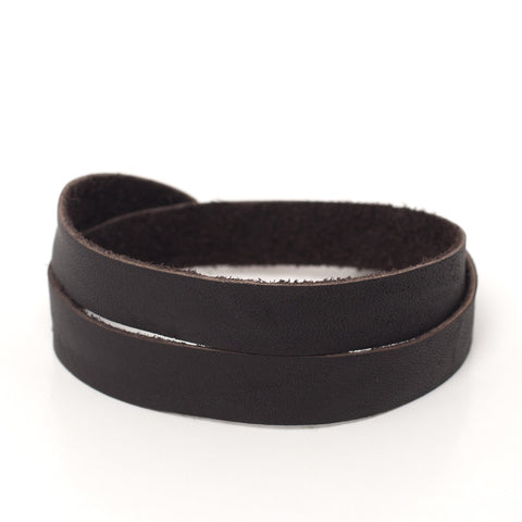 Double Bangle Chocolate Leather