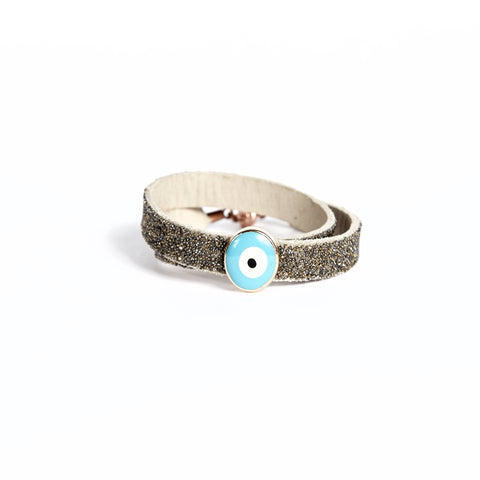 Double Bangle Sand Dorado with Evil Eye Charm
