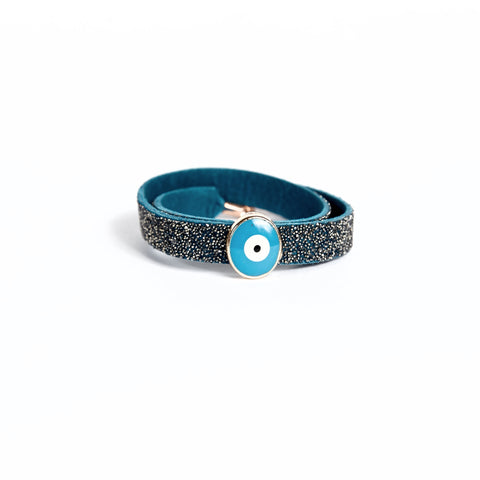 Double Bangle Azure Chrome with Evil Eye Charm