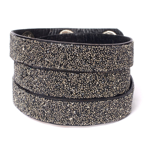 Triple Wrap Cuff Black Metallic
