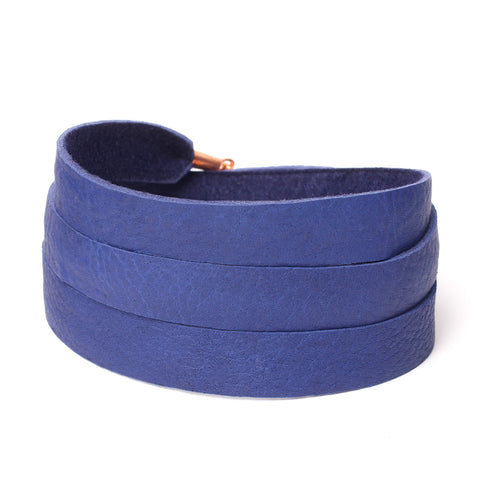 Triple Bangle Navy Blue Leather