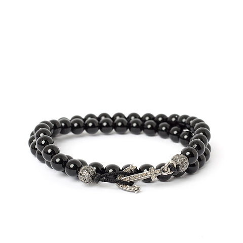 Onyx & Diamond Double Wrap Anchor Bracelet
