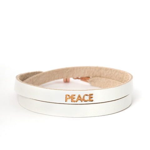 "Double White ""PEACE"" Bracelet"