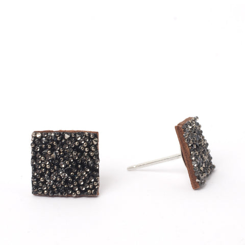 Saddle Metallic Square Studs