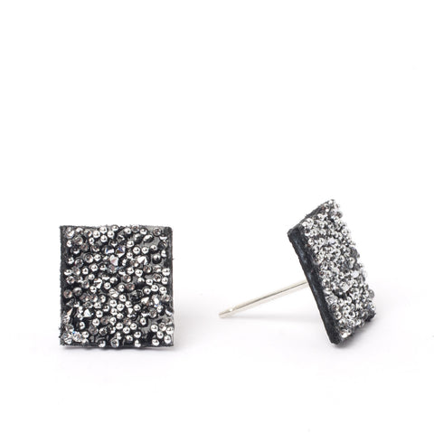 Black Crystal Square Studs