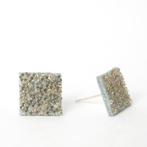 White Gold Square Studs