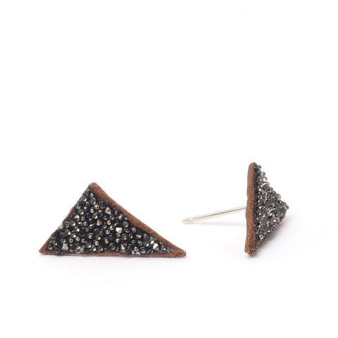Saddle Metallic Triangle Studs