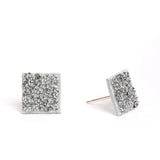 White Crystal Square Studs