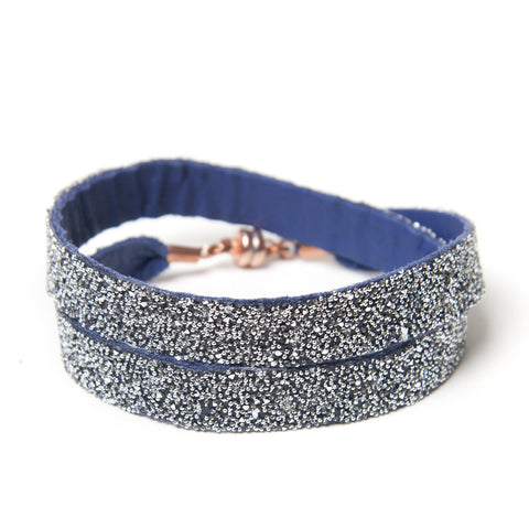 Double Bangle Blue Crystal