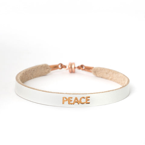 "Single White ""PEACE"" Bracelet"