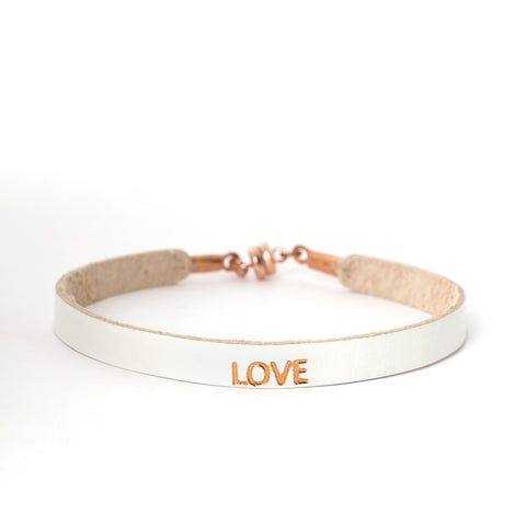 "Single White ""LOVE"" Bracelet"