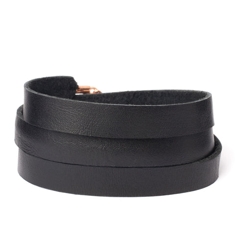 Triple Bangle Black Leather