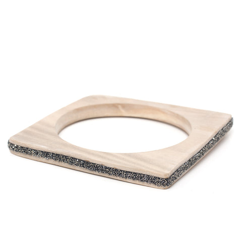 Wood Bangle Square Metallic