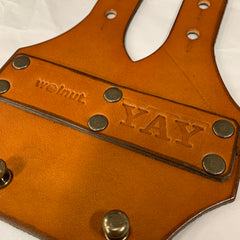 """""""YAY"""" Custom Monogram for Leather 6-Pack Carrier for Bicycle Top Tube"""