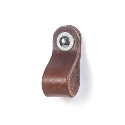 Walnut Studiolo AS-IS AS-IS SALE Leather Drawer Pull - The Hawthorne (Small)