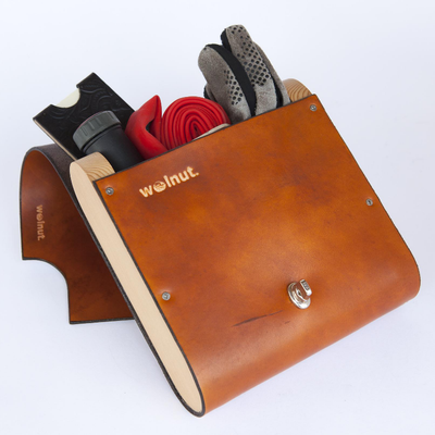 "Walnut Studiolo Bicycle Accessories Bicycle Leather Pannier Bag - The ""Pocket Pannier"" Honey / Single"