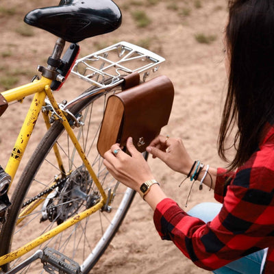 "Walnut Studiolo Bicycle Accessories Bicycle Leather Pannier Bag - The ""Pocket Pannier"""